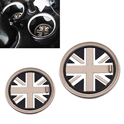 iJDMTOY (2 73mm Union Jack Style Silicone Cup Holder Coasters for Mini Cooper R55 R56 R57 R58 R59 Front Cup Holders, Black/Grey UK Flag ()