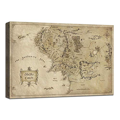 H&H 1 Piece Wall Art Picture Lord of The Rings Map Canvas Painting Map of Middle Earth Poster HD Print Home Decor Artwork for Living Room Bedroom Office Stretched and Framed Ready to Hang