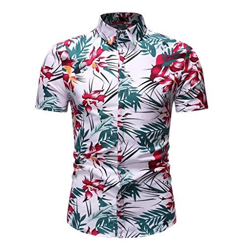 Toimothcn Aloha Shirts Men's Vintage Floral Printed Short Sleeve Top Slim Fit Button Down Hawaiian T-Shirt (White1,XL)
