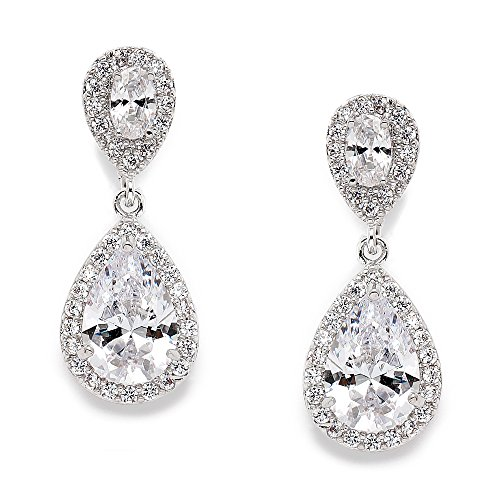 Mariell CZ Teardrop Clip On Wedding Earrings - Dainty Pear-Shaped Cubic Zirconia Dangle Clip - Ons Silhouette Clip