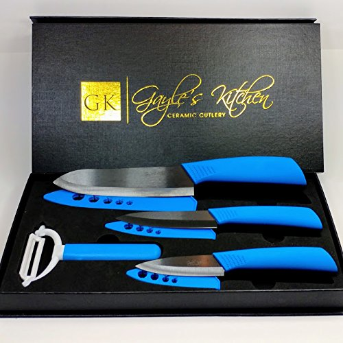 """Ceramic Knife Set - 4 Piece Chef Knife Set Includes 3"""", 4"""", 6"""" Ceramic Knives - Black Blades with Blue Handles and a Matching Vegetable Peeler"""