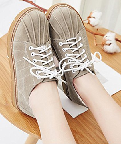Low Faux Wedge Suede Women's Shoes Beige Casual Heels Top Low Oxfords Lace Sneakers Up IDIFU qSE8wv