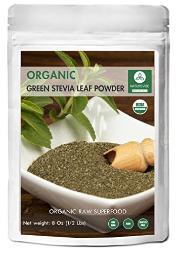 Organic Green Stevia Leaf Powder (1/2 lb) by Naturevibe Botanicals, Gluten-Free, Raw & Non-GMO (8 ounces) -