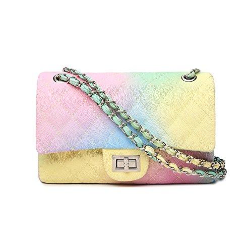 Fragrant Shoulder Diamond Wind Single Chain Big rainbow Small Women's Handbags Bag Across Sloping Wxin Rainbow zf1YI