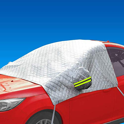 AIKESI Car Cover, Auto Snow Covers Waterproof& All Weather,Snow, Ice, Frost,UV Full Protection,Car Windshield Snow Ice Cover-Fit Cars