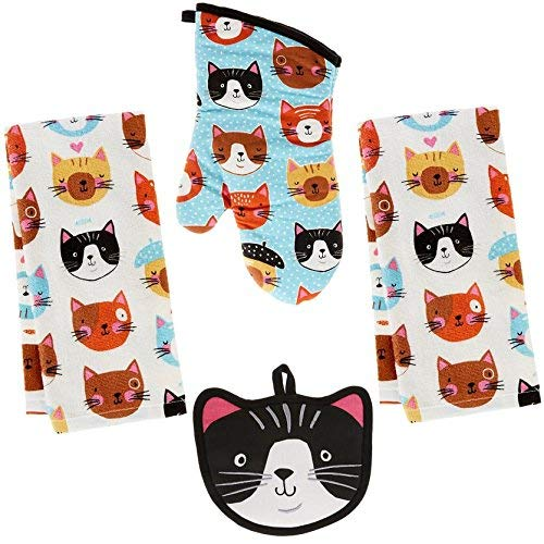 Kay Dee 4 Piece Kitchen Set - 2 Terry Towels, Oven Mitt, Potholder (Crazy Cat)