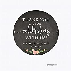 Andaz Press Chalkboard Floral Party Wedding Collection, Round Circle Label Stickers, Personalized Thank You for Celebrating With Us, 40-Pack, Custom Name