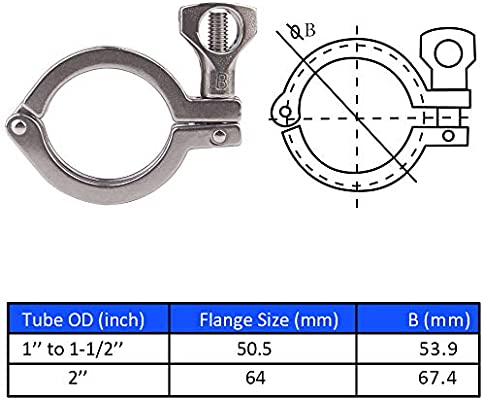"""2 Packs 2/"""" Tri Clamp Sanitary Single Pin Tri Clover with Wing Nut for Ferrule TC 2 inch"""