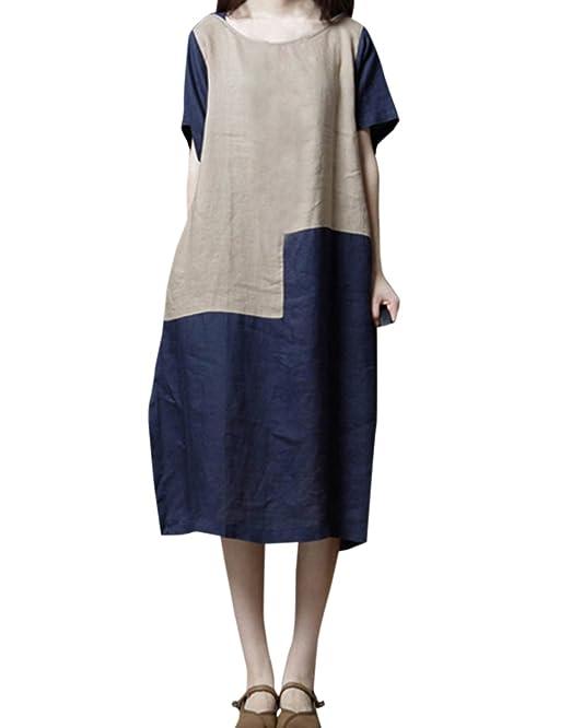 Damen Sommer Midi Kleid Freizeit Locker Rundhals Halbe Hülse Kleider  Strandkleider Blusenkleider Mode Patchwork Kleider Partykleider  Abendkleider  ... 919b07eff1