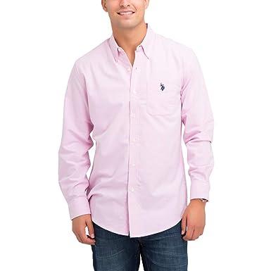 ca9f8864 U.S. Polo Assn. Men's Solid Stretch Oxford Long Sleeve Shirt Light Pink S