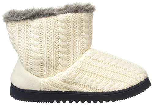 Off Top Knit Dearfoams Women's Two Muslin white Boot Cable Button Slippers Hi qRZxZ0zw1
