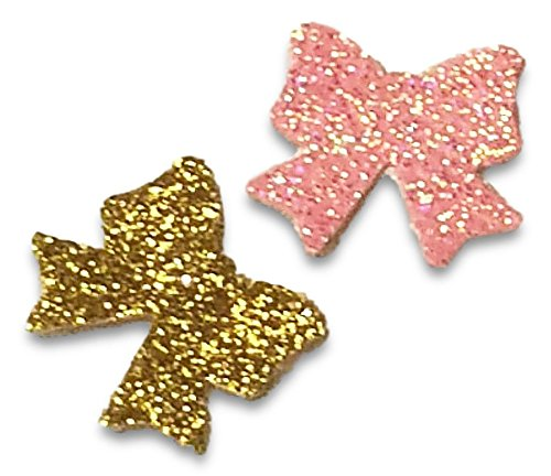 """Custom & Fancy {.5'' Inch} 100 Pieces of """"Table"""" Party Confetti Made of Premium Card Stock w/ Two Color Mix Pretty Glitter Shimmering Princess Theme Hair Ribbon Present Bows Crafts Design [Pink & Gold] by mySimple Products"""