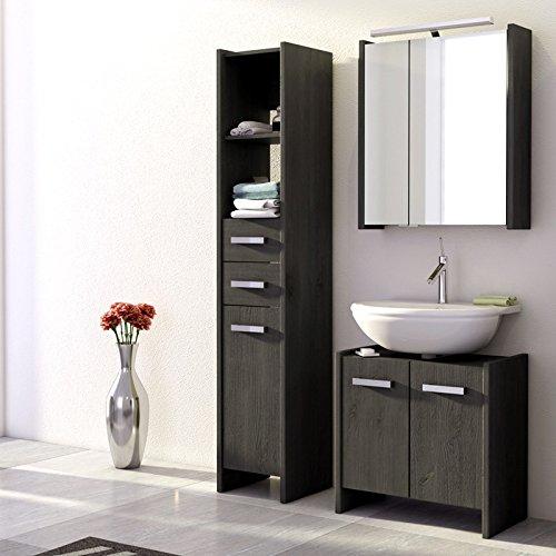 Landhaus Badezimmer Set Massiv Grau Badezimmermöbel Spiegelschrank Badmöbel  Günstig Online Kaufen