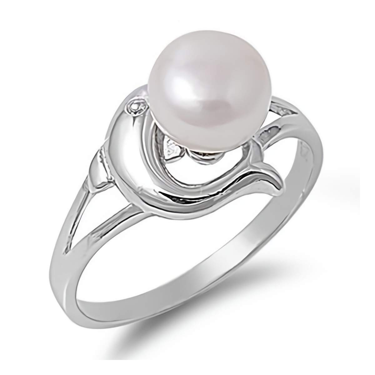 Glitzs Jewels 925 Sterling Silver CZ Cubic Zirconia Simulated Pearl Ring for Women Dolphin