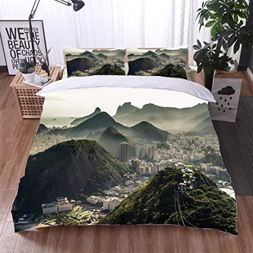 VROSELV-HOME 3 PCS King Size Comforter Set,View of Rio de Janeiro from The Sugarloaf Mountain,Soft,Breathable,Hypoallergenic,with 1 Pillowcase for Kids Bedding