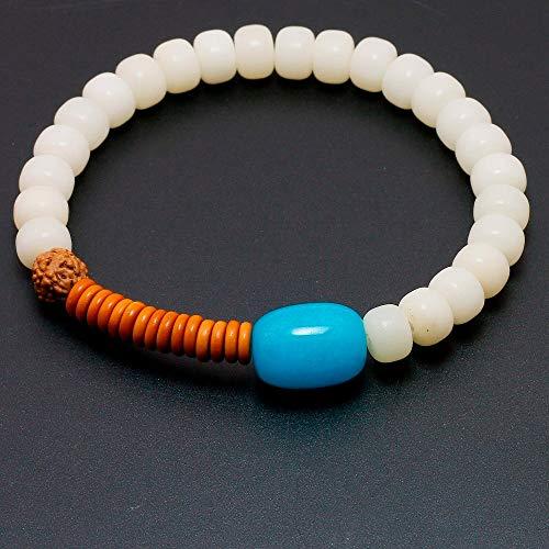 Coconut Bracelet Shell Stretch (Gabcus Wholesale White Bodhi Seed Beads Coconut Shell Blue Stone Stretch Beaded Bracelet Zen Buddhism Yoga Healing Jewelry Women)