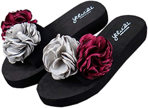 Bettyhome Women Lady Girls 1.18 Inch Sexy Satin Flowers 2 Rose Thongs Comfortable Casual Wedges Sandals Beach Flip Flops Slippers Silver Red uCVmrJnvC