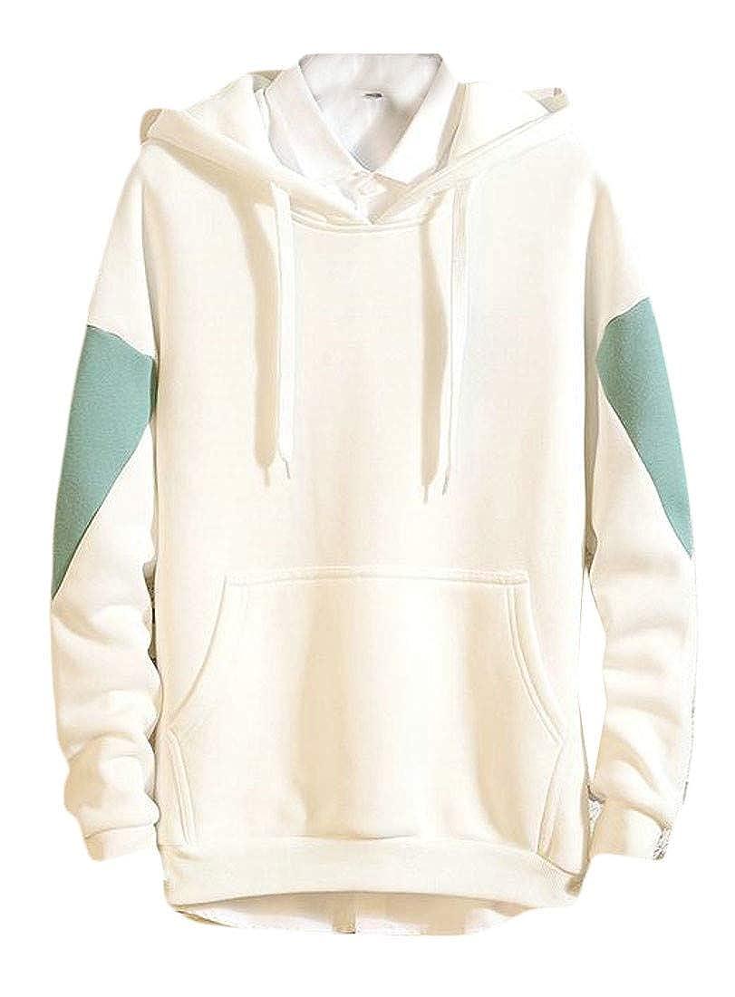 XTX Mens Casual Pullover Kangaroo Pocket Contrast Color Hooded Sweatshirt