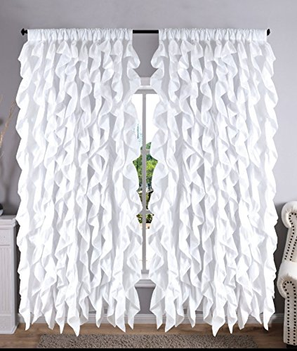 Waterfall Shabby Chic Ruffled Fabric Window Curtain (white)