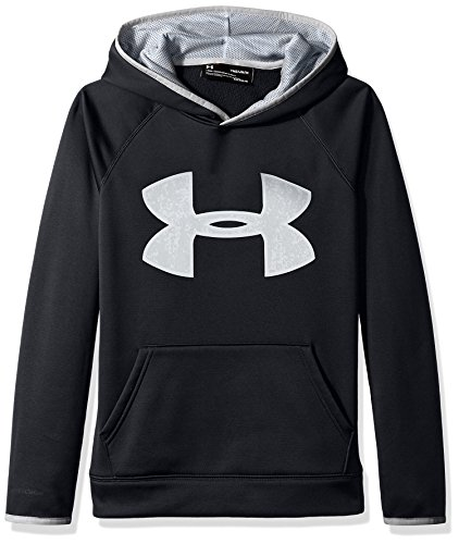 Under Armour Boys' Armour Fleece Big Logo Hoodie,Black (001)/Overcast Gray, Youth Large (Big Logo Hoodie)