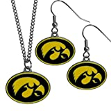 Siskiyou NCAA Iowa Hawkeyes Dangle Earrings & Chain Necklace Set, Black