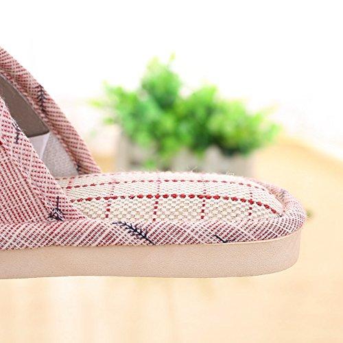 Btrada Slippers Women Flax Fashion Platform Shoes Open Toe House Indoor Slippers Red Anti Slip TTrw71q