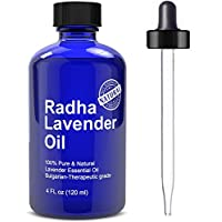 Radha Lavender Essential Oil - Big 4 Oz - 100% Pure & Natural Therapeutic Grade - PREMIUM QUALITY Oil From Bulgaria