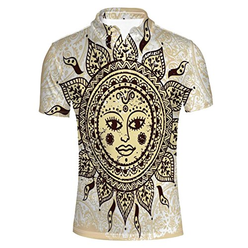 iPrint T-Shirts Tribal Motif with Mix Paisley Leaf Elements Kitsch Shirts for Mens