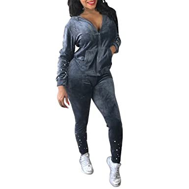 40e879d6 Casual Flannel Beading Zipper Sweatshirt + Sweatpants Skinny Pants Set Gray  L