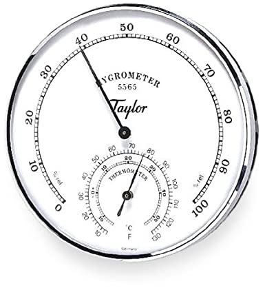 """Taylor Analog Dial Hygrometer/Thermometer, 5"""" Diameter, 20 to 120 Degrees F"""