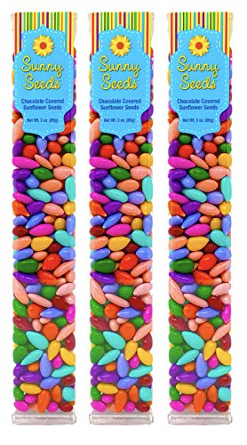 Chocolate Covered Sunflower Seeds Multicolored Candy Coated Treats - Rainbow Party Favors - Sweet and Crunchy Topping - Pack of 3
