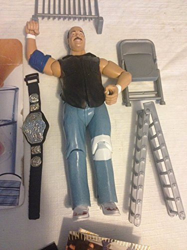 Mean Gene Okerland 2001 WWF Wrestling Action Figure Loose With Belt & Lot of 40 Wrestling Trading Cards & Accessories