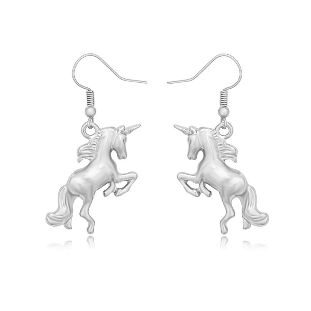 TUSHUO Simple Dainty Running Unicorn Pendant Earrings Best Unicorn Jewelry Gift for Unicorn Lover (Silver)