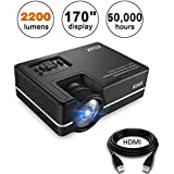 Mini Projector, KUAK 2200 Lumens 170 Display 50,000 Hour LED Full HD Multimedia Home Theater Video Projector Support 1080P HDMI USB VGA AV for Fire TV Stick PS4 Laptop Smartphone iPad- HT30&Silver
