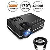 Mini Projector, KUAK 2200 Lumens 170'' Display 50,000 Hour LED Full HD Multimedia Home Theater Video Projector Support 1080P HDMI USB VGA AV for Fire TV Stick PS4 Laptop Smartphone iPad- HT30&Silver