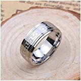 Sumanee Fashion Mens Cool Silver Stainless Steel Pattern Ring Band Titanium Ring Jewelry (11)