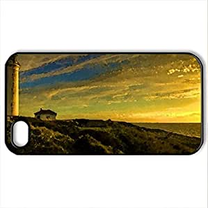 Lighthouse at Twilight - Case Cover for iPhone 4 and 4s (Lighthouses Series, Watercolor style, Black)