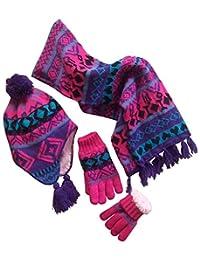 N'Ice Caps Big Girls Sherpa Lined Geo Print Hat/Scarf/Glove Knitted Set (Teens / 13-15yrs, Purple/Turq/Fuchsia/Black)