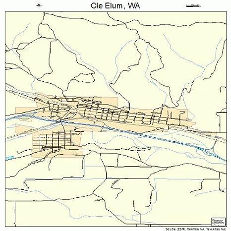 Amazon Com Large Street Road Map Of Cle Elum Washington Wa