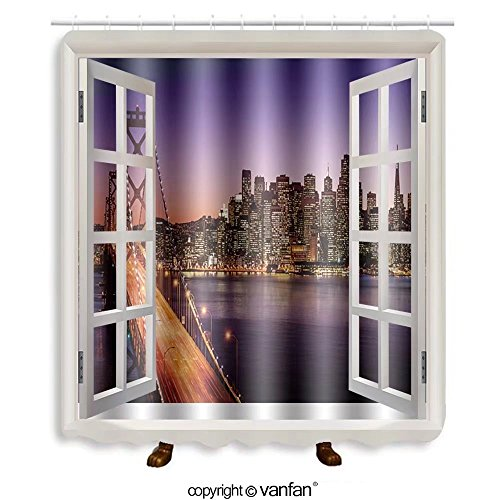 Vanfan designed Windows 160968266 San Francisco skyline and Bay Bridge at sunset, Ca Shower Curtains,Waterproof Mildew-Resistant Fabric Shower Curtain For Bathroom Decoration Decor With Shower - Stores San Premium Francisco Outlets
