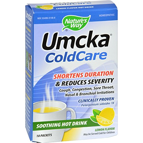 Nature's Way Umcka ColdCare Soothing Hot Drink Lemon - 10 Packets - Homeopathic - Non - 10 Hot Packets Drink