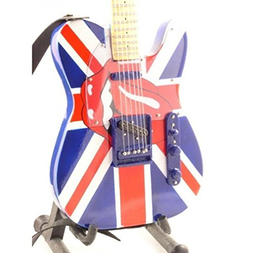 Rolling Stones Miniature Guitar - Keith Richards - Fender Telecaster UK &Tongue - Wood Replica 10 Inches ()