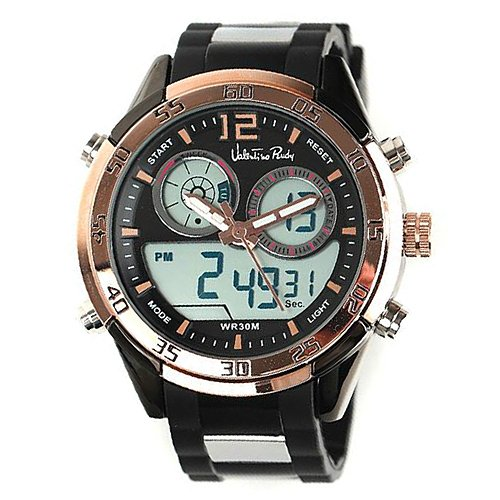 Valentino Rudy Round Face Urethane Band Color Water Resistant Date and Time Digital and Analog Watch - No. 7002 (Dial Black, Band Color Black)