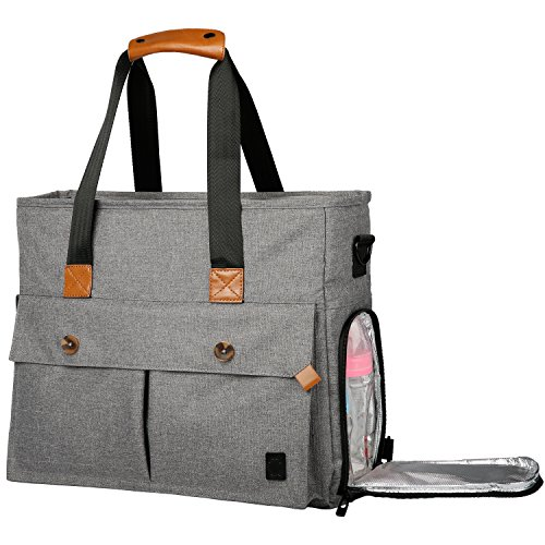 Ferlin Large Capacity Baby Diaper Bag Backpack Organizer with Stroller Straps and Changing Pad for Mom & Dad (Grey-0729)