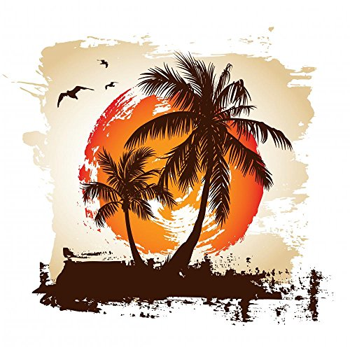 Wallmonkeys Tropical Sunset Peel and Stick Wall Decals WM122811 (30 in H x 30 in W)