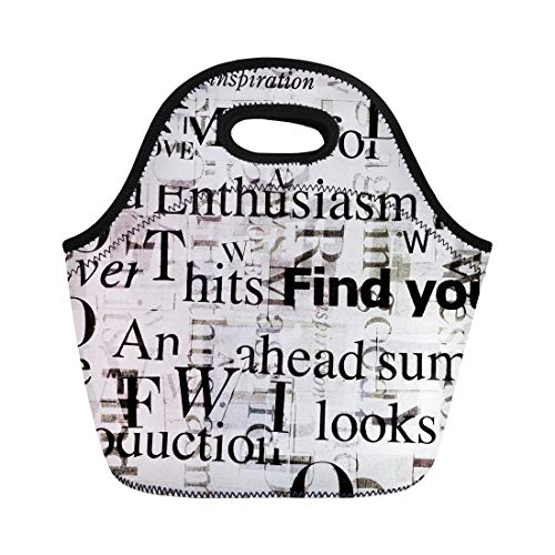 Semtomn Neoprene Lunch Tote Bag Designed Collage Made of Newspaper and Magazine Clippings Mixed Reusable Cooler Bags Insulated Thermal Picnic Handbag for Travel,School,Outdoors,Work