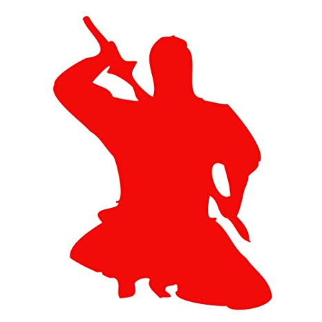 Auto Vynamics - NINJA-CHAR09-5-GRED - Gloss Red Vinyl Ninja Warrior Silhouette Decal - Crouched / Crouching 05 Design - 3.75-by-5-inches - (1) Piece ...
