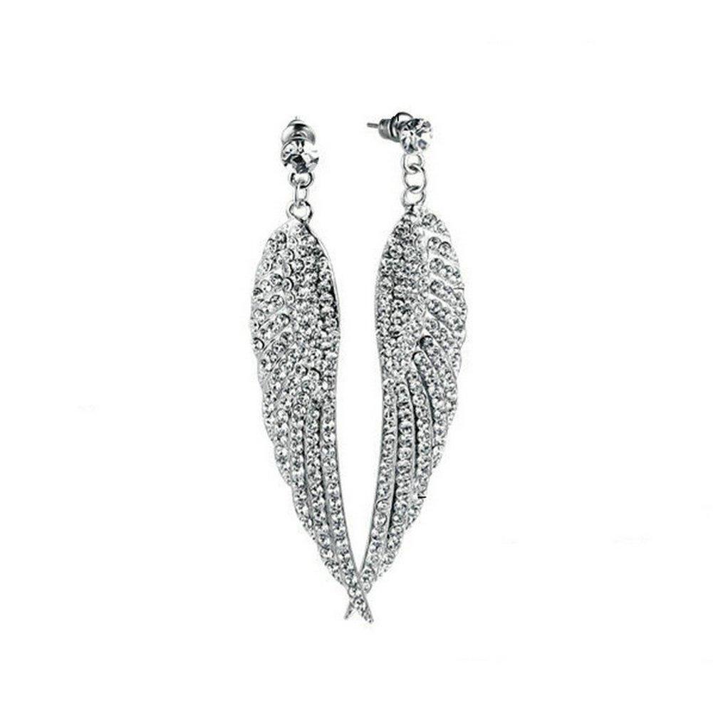 Herinos Women's Alloy Cubic Zirconia Angel Wings Dangle Drop Wedding Earrings(Silevry)