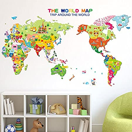 Revesun removable stickers paper cartoon animal colorful world map revesun removable stickers paper cartoon animal colorful world map wall sticker for intelligence kids bedroom decoration gumiabroncs Images