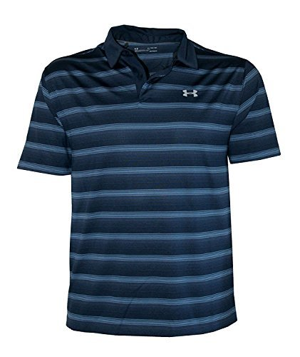 Under Armour Men's Performance Golf Polo CoolSwitch Shirt Striped Top (Navy, -